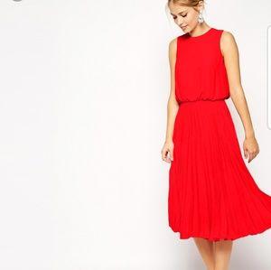 ASOS Red Pleated Midi Skater Dress